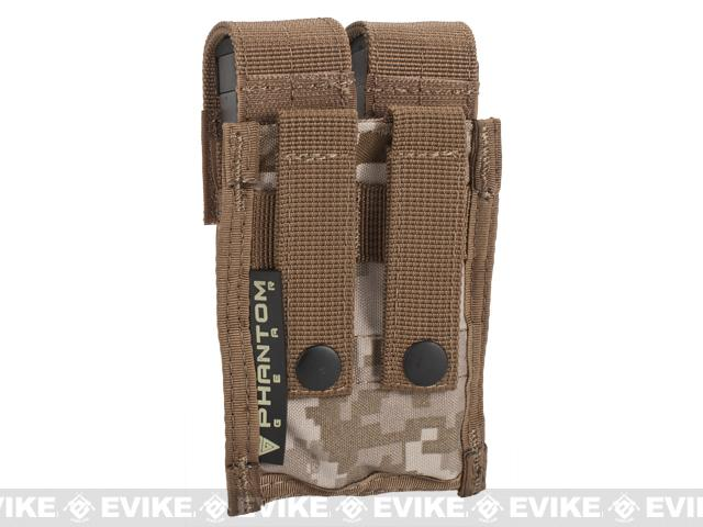 Tactical MOLLE Double Pistol Magazine Pouch by Phantom Gear - Digital Desert Marpat