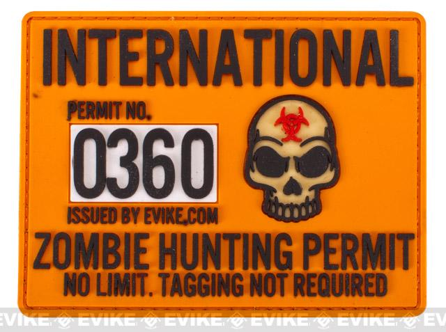 Evike.com Zombie Hunting Permit PVC Hook & Loop Patch