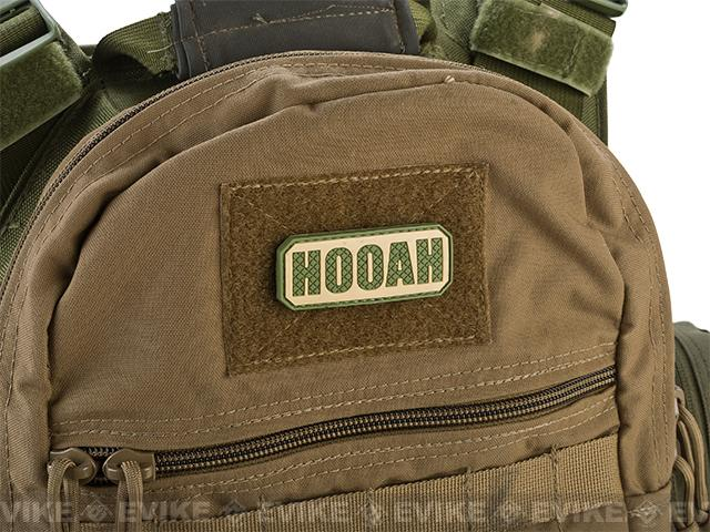 PVC Hook and Loop IFF Patch - Hooah - OD / Tan
