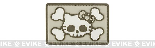 PVC Skull Kitty Hook and Loop Patch - Tan / Sand