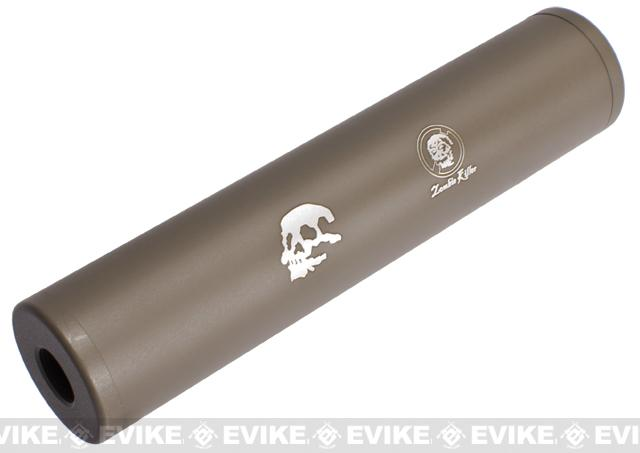 Matrix Op. High Speed Zombie Killer 2 Airsoft Barrel Extension / Mock Silencer 35mm x 150mm (14mm- & 14mm+) - Tan