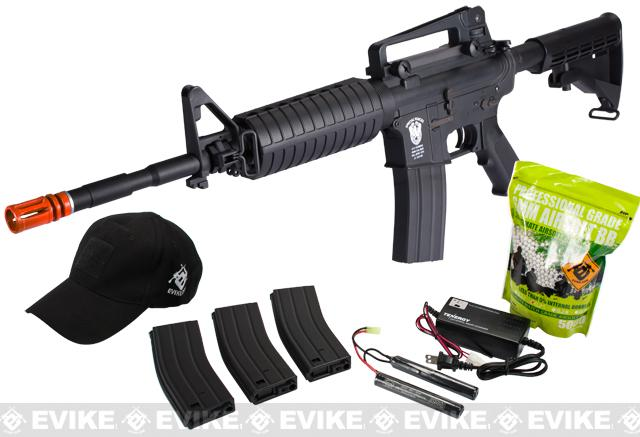 Matrix AIM Top Custom Lipoly Ready 8mm Gearbox M4 Airsoft AEG Player Package - Black