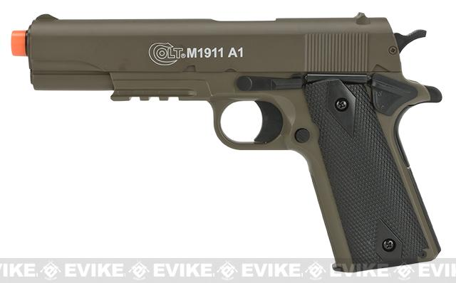 Colt M1911A1 Airsoft Spring Pistol with Metal Slide - Tan