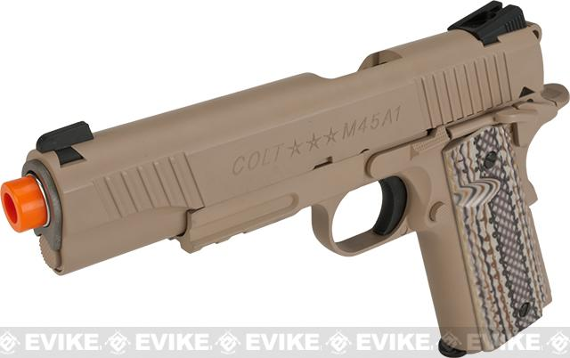 Colt 1911 Rail Gun Full Metal CO2 Powered Blowback Airsoft Pistol by KWC - M45A1 (Desert Sand)