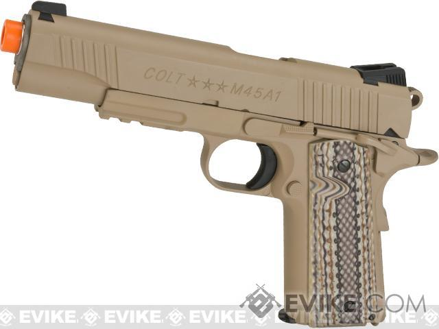 Colt 1911 Rail Gun Full Metal CO2 Powered Blowback Airsoft Pistol by KWC (Color: Desert Sand)