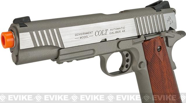 Colt 1911 Rail Gun Full Metal CO2 Powered Blowback Airsoft Pistol - Stainless