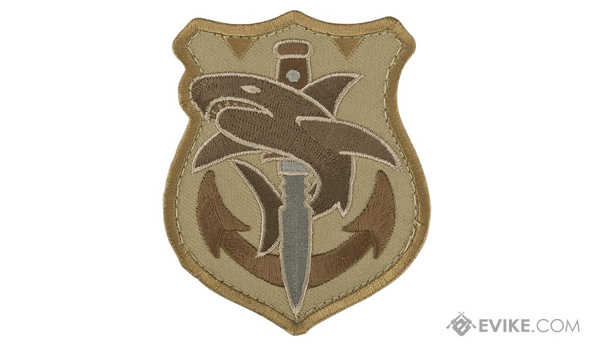 Mil-Spec Monkey Tactical Shark Morale Patch (Color: Desert)