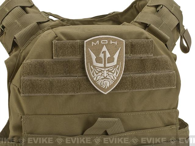 Embroidered Tactical Hook & Loop Patch - King- Tan