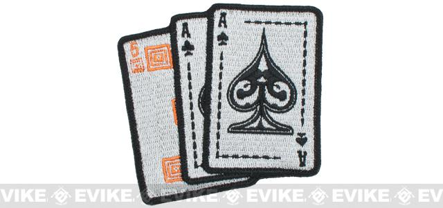 z 5.11 Tactical Ace in Hand Embroidered Hook & Loop Morale Patch - Grey