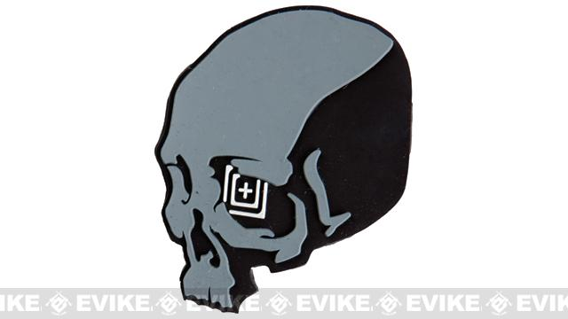 5.11 Tactical Skull Shot PVC Rubber Hook & Loop Morale Patch - Black