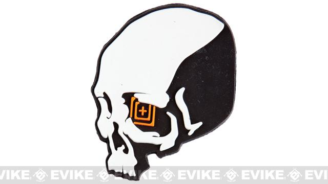 z 5.11 Tactical Skull Shot PVC Rubber Hook & Loop Morale Patch - Grey