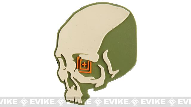 5.11 Tactical Skull Shot PVC Rubber Hook & Loop Morale Patch - Sand