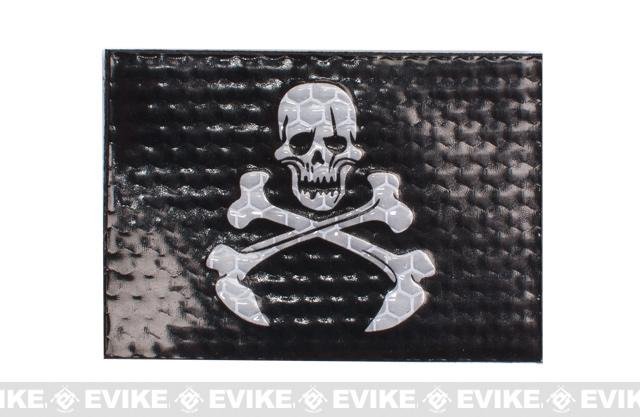 Reflective Skull & Bones Patch - Black