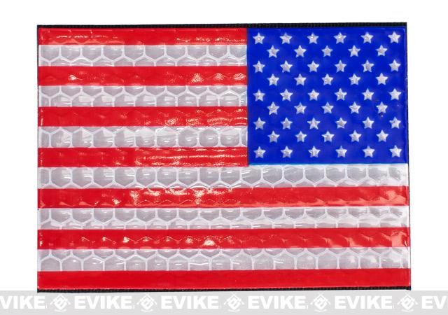 Reflective US Flag Patch - Full Color / Reverse