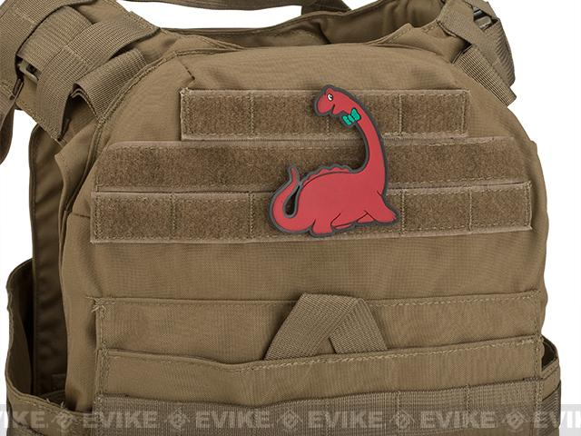 Puff Dino Brontosaurus PVC Hook and Loop Morale Patch - Red