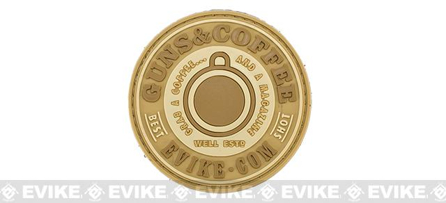 Evike.com Guns & Coffee Brand PVC Hook and Loop Patch - Tan