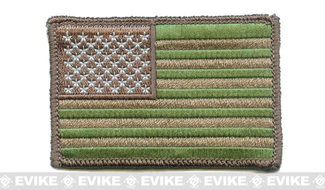 Matrix Hook and Loop U.S. IFF Flag Patch - Regular - Green and Tan