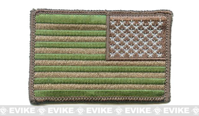 Matrix Hook and Loop U.S. IFF Flag Patch - Reversed - Green and Tan