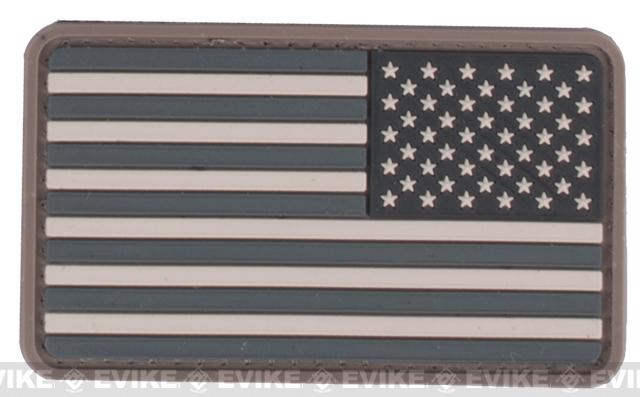 US Flag PVC Velcro Rubber Patch - Reverse / SWAT
