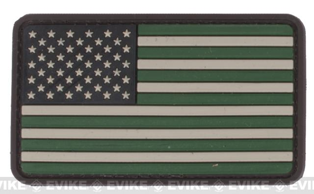 US Flag PVC Velcro Rubber Patch - Regular / Foliage