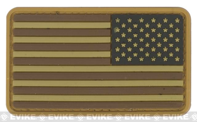 US Flag PVC Hook and Loop Rubber Patch - Reverse /Brown and Tan