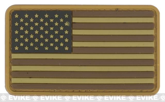US Flag PVC Hook and Loop Rubber Patch - Regular / Tan and Brown