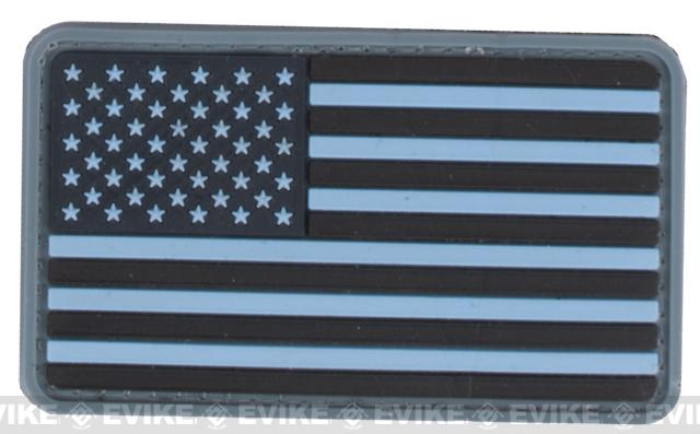 US Flag PVC Velcro Rubber Patch - Regular / Navy Blue
