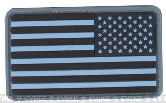 US Flag PVC Hook and Loop Rubber Patch - Reverse / Navy Blue