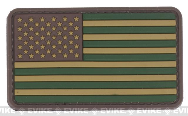US Flag PVC Hook and Loop Rubber Patch - Regular / OD Green