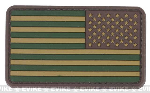 US Flag PVC Hook and Loop Rubber Patch - Reverse / OD Green