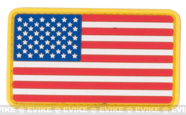 US Flag PVC Hook and Loop Rubber Patch - Regular / Red White & Blue
