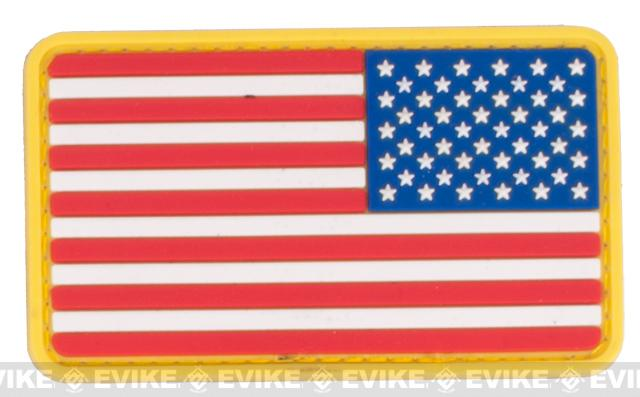 US Flag PVC Velcro Rubber Patch - Reverse / Red White & Blue