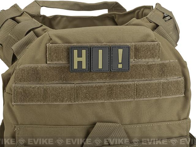 Evike.com PVC Hook and Loop Letter Patch - J (Black / Tan)