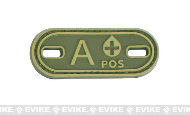 Matrix PVC Oval Blood Type Velcro Patch - A POS / OD Green