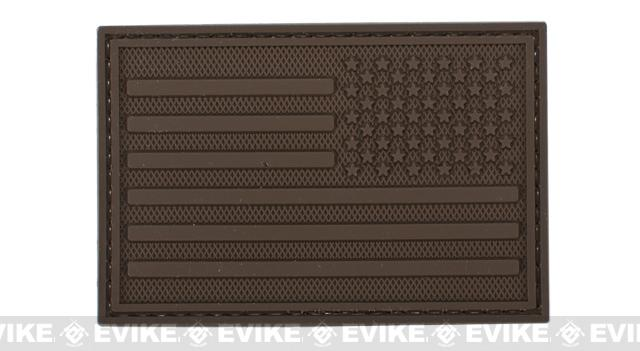 US Flag PVC Velcro Rubber Patch - Reverse / Brown
