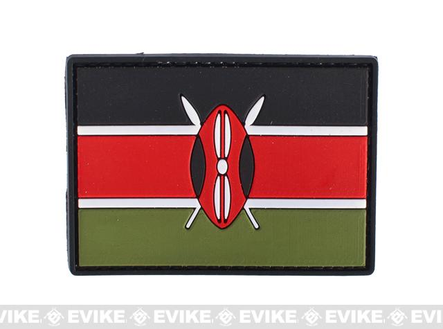 Kenya Flag PVC Hook and Loop Patch