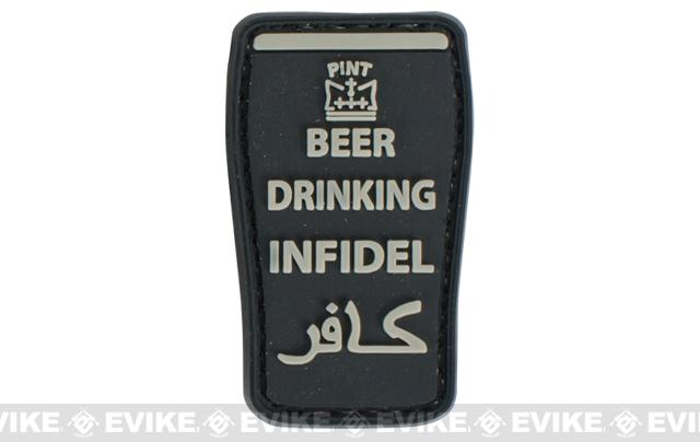 Very Tactical Beer Drinking Infidel PVC Hook and Loop Patch - Black