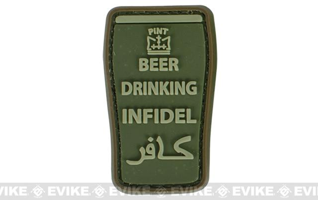 Very Tactical Beer Drinking Infidel PVC Hook and Loop Patch - OD Green