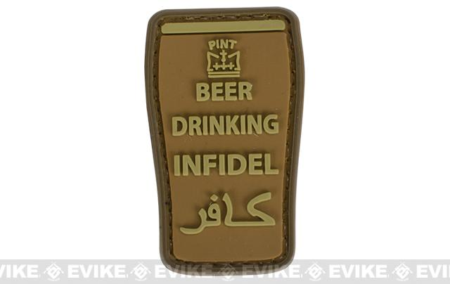 Very Tactical Beer Drinking Infidel PVC Hook and Loop Patch - Tan