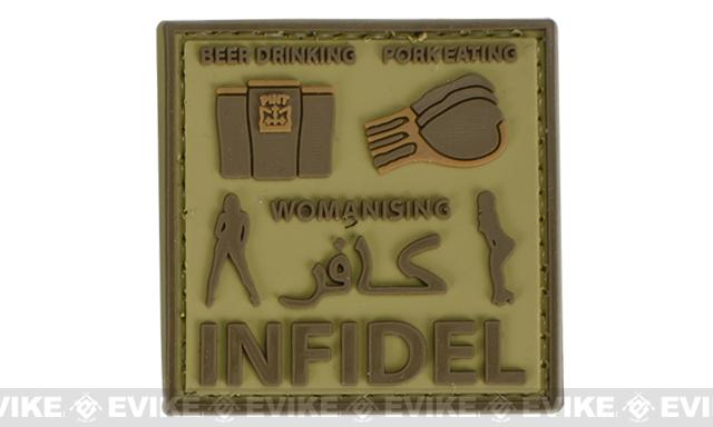 Very Tactical Beer Drinking, Pork Eating, Womanizing Infidel PVC Hook and Loop Patch - Tan