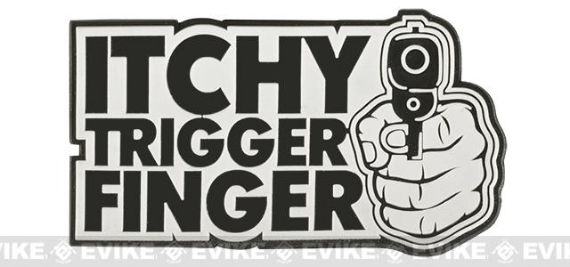 Itchy Trigger Finger PVC Hook and Loop Morale Patch  - Black & White