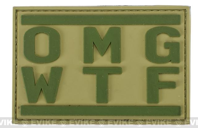 Hook Backed OMGWTF PVC Patch - Green