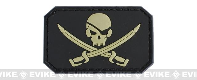 Skull and Swords PVC IFF Hook and Loop Patch - Black / Tan