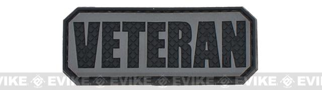 Veteran PVC Hook and Loop Morale Patch - Gray / Black