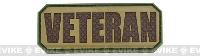 Veteran PVC Hook and Loop Morale Patch - Tan / Dark Brown