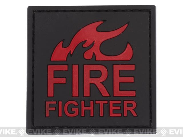 Fire Fighter PVC Hook and Loop Patch - Red / Black