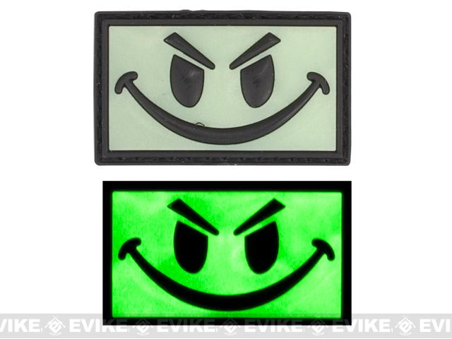 Smiley Face Glow in the Dark PVC IFF Velcro Patch - Green