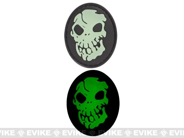 Skull Glow in the Dark PVC IFF Velcro Patch - Black