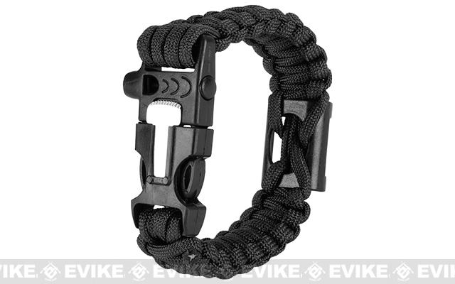 Evike.com Multi-Function Survival Paracord Bottle Opener Bracelet with Fire Starter & Whistle - Black / 10