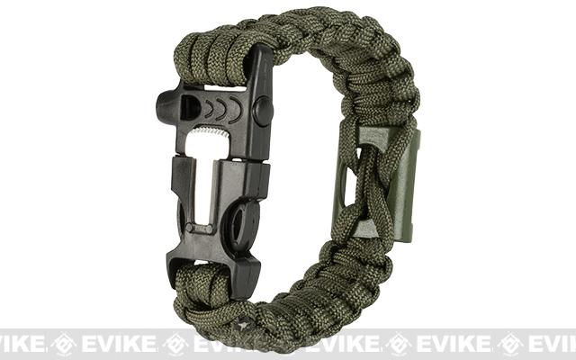 Evike.com Multi-Function Survival Paracord Bottle Opener Bracelet with Fire Starter & Whistle - Olive Drab / 10